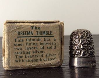 Antique Sterling Silver Thimble / Hallmarked / Dreema Thimbles / Box