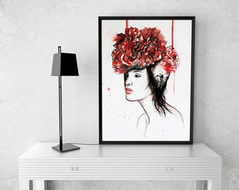 Red Flowers Portrait Fashion Illustration Watercolor Painting Print