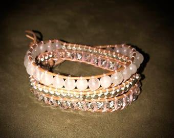 Pink toned wrap bracelet