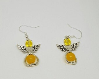 Yellow Chalcedony and Citrine Guardian Angel earrings