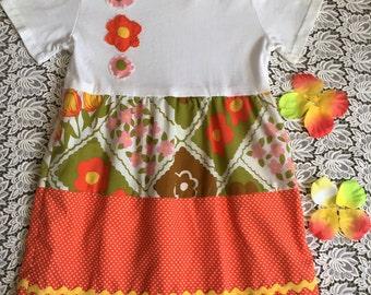 Girls tiered dress. Summer cotton dress, vintage, orange, ruffle dress, tee shirt top, tiered skirt, toddler, young girls dress