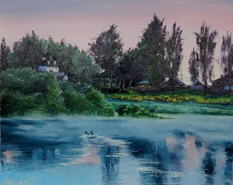 oil painting on canvas russian village Evening calm