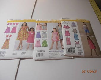 girls sewing pattern Simplicity patterns #2469, #1703, #2241 size 7-14