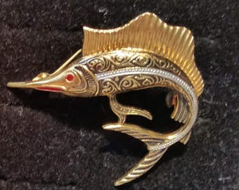 Spanish Black and Gold Shark Fish Brooch