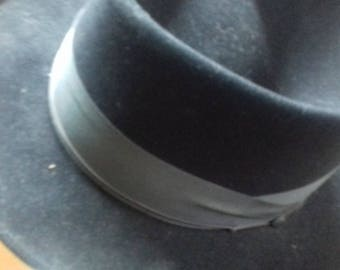 Vintage 1930s,1940s Gentlemens Hat, Germany Black  size 7