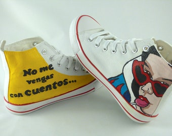 Hand-painted snow white slippers