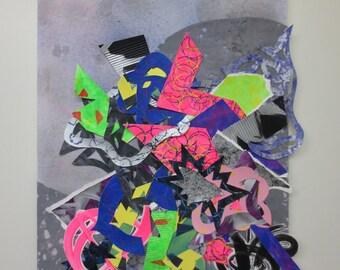 Vibrant Geometric Collage Painting (Neon Version)