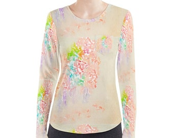 Unique pattern. Designers own. Long sleeve women's T shirt top: optional front pocket. Choice of material