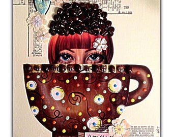 "Mixed Media Fine Art Collage ~ ""Java Bean Siren"""