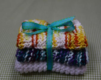 Knit Dish Cloths, White/Yellow/Blue Multi