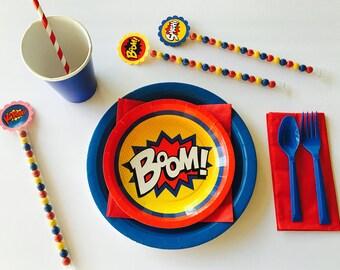 Superhero Party, Superhero Birthday, Superhero Plates, Party in a Box