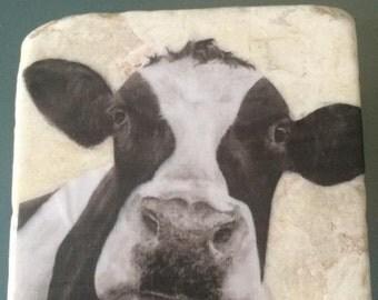 Single cow travertine stone coasters- Handmade