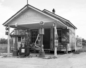 "1939 Gas Station, Granville County, North Carolina Vintage Photograph 8.5"" x 11"""