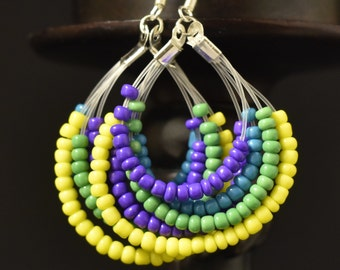 yellow, green, blue and green bead earrings