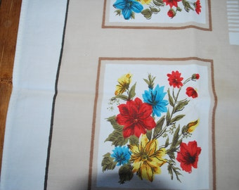 Vintage Tablecloth with Flower Blocks in Red, Yellow and Blue with a Neutral Background