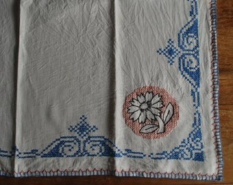 Vintage Tablecloth Cream Background with Blue, Pink and Brown Cross Stitch and Embroidery