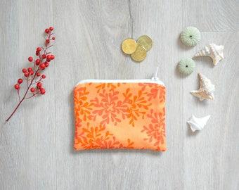 Wallet in orange foliage fabric