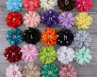 Free Shipping Fluffy Ballerina Chiffon Flower Ornaments Fabric Flowers With Gold Dot For Baby Girls Hair Accessories Flowers Supplies 7.5cm