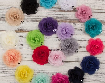 20colors 8.5cm Chiffon Petals Poppy Flower Rolled Rose Fabric Hair Flowers For Baby Girls Hair Accessories Headbands For Hair Clips