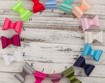 "3.2"" Newborn Luxe Hair Bows For Headbands/Hair Clips Super Hard PVC Satin Bow For Baby Girl Hair Accessories"