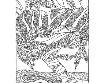 coloring page from my book trees flowers coloring book for adults - Flower Coloring Books For Adults