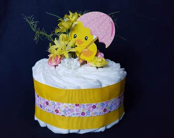Rubber Duck Diaper Cake,Duck With Umbrella Diaper Cake, Centerpiece,Baby Shower,Sprinkle Shower,Diaper Raffle,Shower Table Decoration