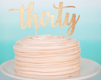 30th Birthday Cake Topper 30th Anniversary Topper Thirty Cake Topper 30th Cake Topper Cheers To 30 Years Gold Glitter Thirty