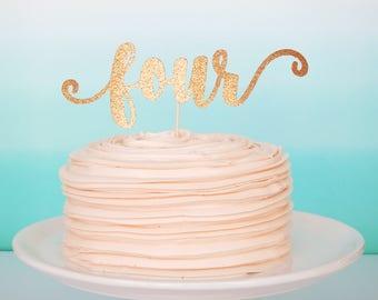 Four Cake Topper Fourth Birthday Cake Topper Pink and Gold 4th Pink and Gold Fourth Gold Glitter Four Topper Pink Glitter Four Topper