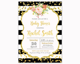Floral Invitation Baby Shower, Black Stripes Invitation,  Baby Shower Invitation, Flower Invite, Sparkling Invite