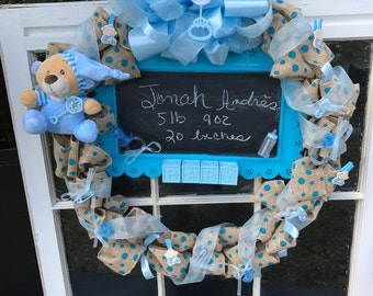 Baby Boy Welcome Wreath