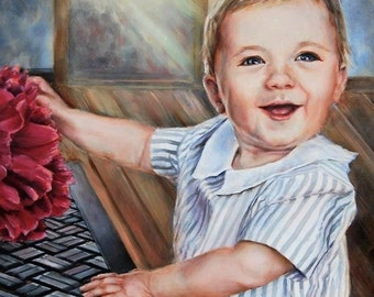 Baby portrait, Baby oil painting, Child's portrait, Children painting, Oil painting from photo, Original oil, Dog portraits, Dog painting