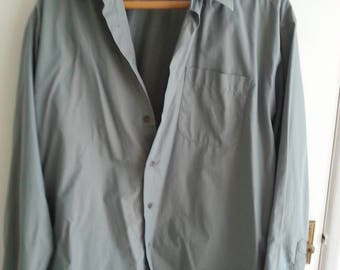 Vintage iridescent grey shirt. Two-tone grey/green. Fabulous.
