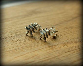 Pine tree earrings, sterling silver tree post earrings