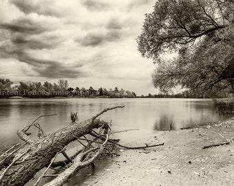 Photography black & white - edge of Saône - France / Black and White Photography Fine Art Landscapes of France
