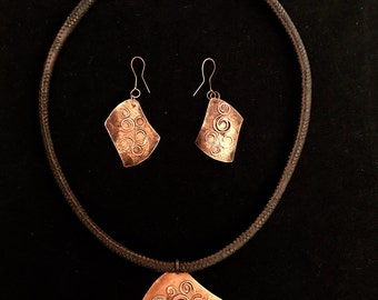 Copper handmade jewelry set