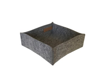 K3 15x15x5cm felt light grey Heather aufbewahrungsbox designfilz box 100% merino of wool felt 3-4 mm of hand sewn handmade decode basket storage