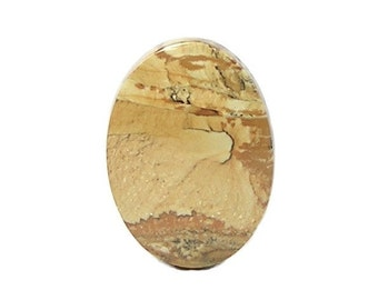 Scenic Jasper Natural Semiprecious Calibrated Oval Flat Back Gemstone Cabochon 30 x 22 mm, Loose Jewelry Stone