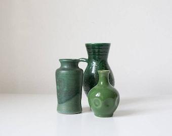 Vintage vase set, flower vases, glazed, dark green, 60s, mid century modern design, Scandinavian design, boho