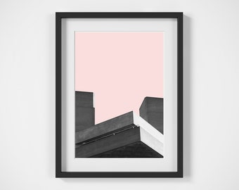 Brutalist Building Print, Digital Download, Wall Art, Urban Architecture Print, Black and White