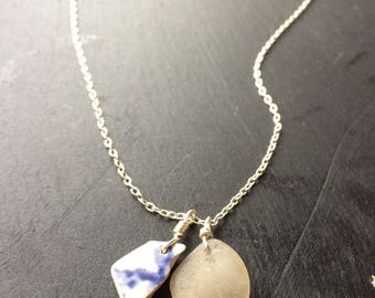 Seaglass and sea pottery necklace