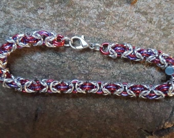 Byzantine chain mail bracelet in silver and red and purple