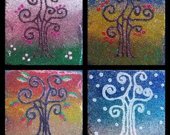 Four Seasons glitter art