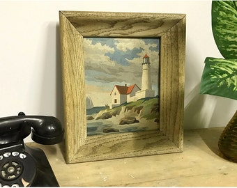 Vintage Lighthouse, paint-by-number painting, PBN, - original, wall art, 1950s