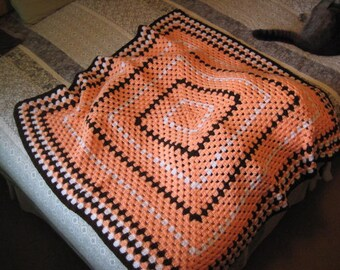 Handmade Crocheted Granny Square Throw/Afghan