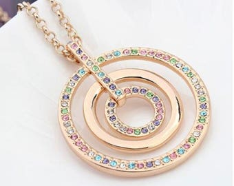 18K Gold Plated Rose Gold Necklace Pendant with Swarovski elements, Fashion Necklace, Circles Pendant, Gift for Her, Gifts Under 30