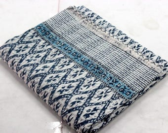 Hand made kantha quilt vintage twin size throw hand stitched indigo blue  and white Ikat print kantha bedcover