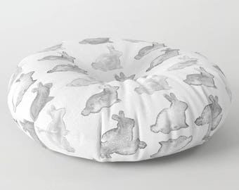 Bunny Floor Pillow, Rabbit Floor Pillow, Bunny Pillow, Bunny Nursery, Bunny Kid's Room, Kid's Floor Pillow