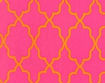 SALE Designer fabric from Michael Miller Fabrics Moroccan Lattice in Pink and Orange 100% cotton 1 yard