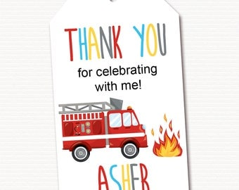 Fire Truck Party, Thank you Tags, Fire Truck, Party Gift Favors, Fire Truck Birthday Party, Personalized, PRINTABLE