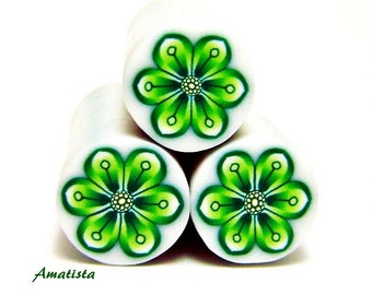 Polymer clay flower cane: Raw polymer clay cane - Millefiori cane supplies - Green flower cane - Supplies for jewelers